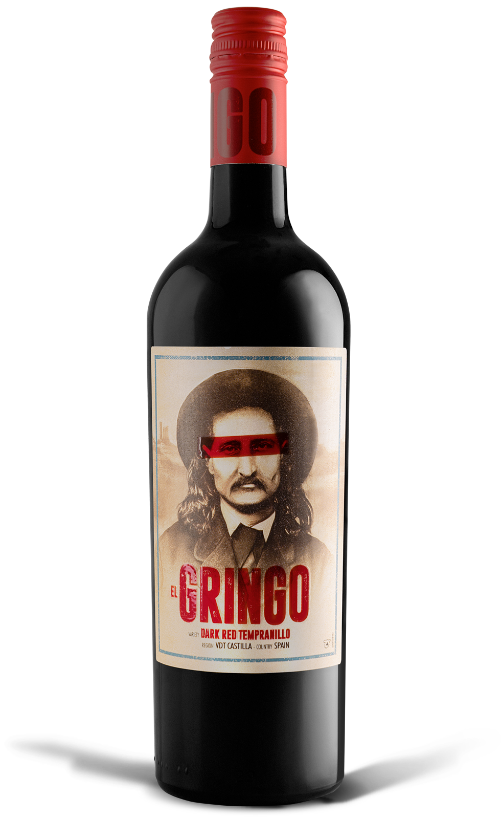 The bottle of red wine tempranillo El Gringo, a young wine with a clean aroma and ruby color - deep purple